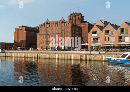 historic Old Harbour and former warehouses, Hanseatic City of Wismar, Mecklenburg-Vorpommern, Germany - Stock Photo