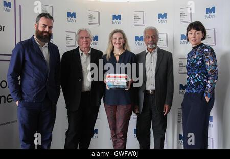 London, UK. 13th September, 2016. The Man Booker Prize 2016 Judges - Jon Day, David Harsent, Dr Amanda Foreman (Chair) - Stock Photo