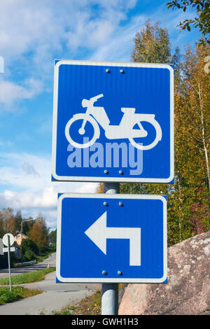 moped route traffic sign, Finland - Stock Photo
