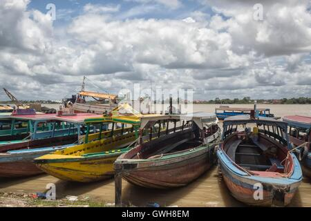Colorful wooden boats in Paramaribo - Stock Photo
