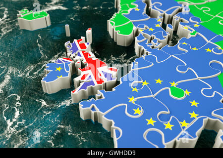 Brexit concept puzzle - Britain leaving the EU, European Union - Stock Photo