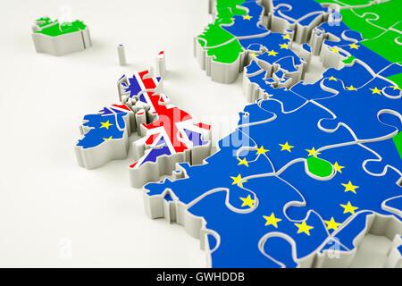 Brexit concept puzzle - representing Brexit, the UK exit, the EU referendum, trade deal etc. - Stock Photo