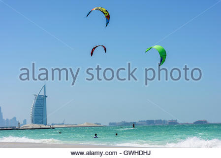 Kite Surf in Dubai with the famous Burj Al Arab hotel in background. No model/property releases. Dubai Emirates, - Stock Photo
