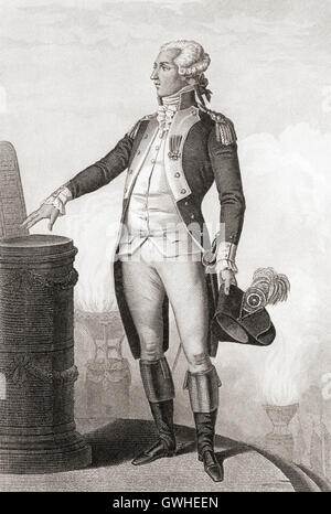 Marie-Joseph Paul Yves Roch Gilbert du Motier, Marquis de Lafayette, 1757 – 1834.  French aristocrat and military - Stock Photo