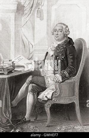 Louis XVI, 1754 – 1793, born Louis-Auguste, aka Louis Capet.  King of France. - Stock Photo