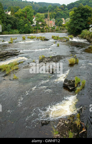 River Dee in Llangollen a popular town and tourist destination in Wales - Stock Photo