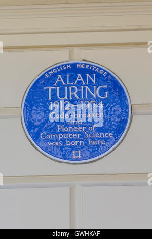"""English Heritage Blue Plaque commemorating """"Alan Turing 1912-1954 Code breaker and Pioneer of Computer Science was - Stock Photo"""