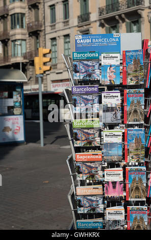 A selection of Barcelona city guide books in various languages for sale at Placa De Catalunya. - Stock Photo