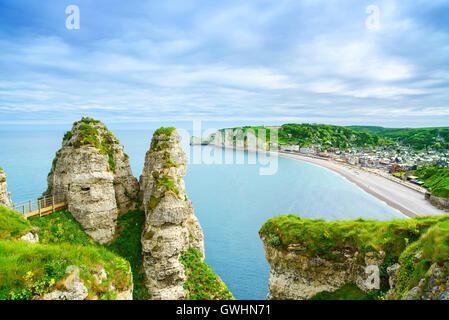 Etretat village and its bay beach, aerial view from cliff. Normandy, France, Europe. - Stock Photo