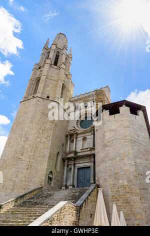 Church of Sant Feliu, Girona, Catalonia, Spain - Stock Photo