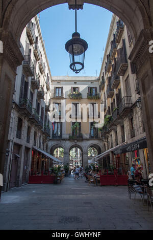 A charming colonial property that retains all of it's historic character situated at the end of Las Ramblas, Barcelona. - Stock Photo