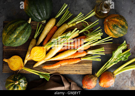 Big pile of autumn produce ready to be cooked - Stock Photo