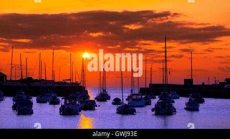 Sunset at Aberaeron Harbour, Ceredigion, Wales, UK. - Stock Photo