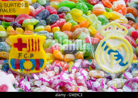 Lollipops of Barcelona FC and Real Madrid CF, close view. Madrid, Spain. - Stock Photo