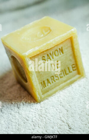 Marseille soap natural Multicolor soaps handmade with organic oil of lavender ond another flowers - Stock Photo