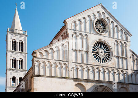 Saint Anastasia Cathedral and bell tower in the historical center of Zadar, Croatia - Stock Photo