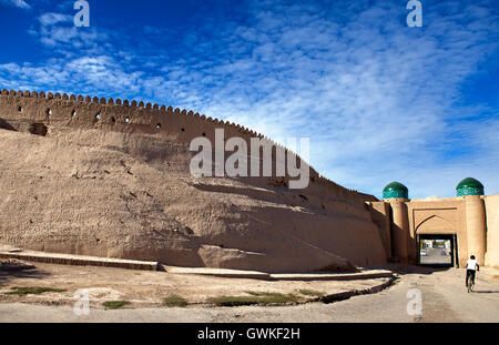Entrance gate in the ancient city wall. Uzbekistan. Khiva - Stock Photo