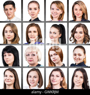 Collage of diverse mixed age people smiling over white background - Stock Photo