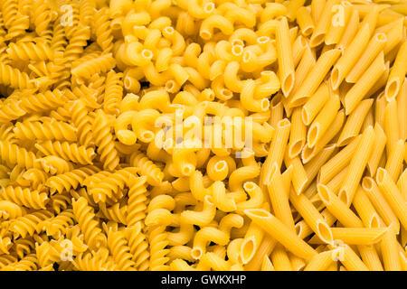 Cavatappi, Rotini, Rigate dry pasta traditional cut. - Stock Photo