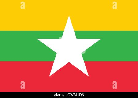 Myanmar flag, Burma flag, official colors and proportion, accurate vector illustration. - Stock Photo
