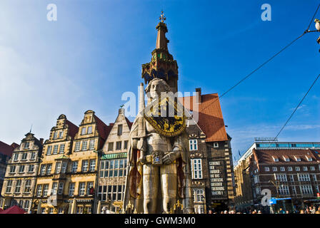 Bremen -. View of Roland statue and market square - Stock Photo
