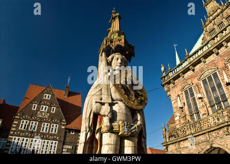 Bremen - View of Roland statue and market square - Stock Photo