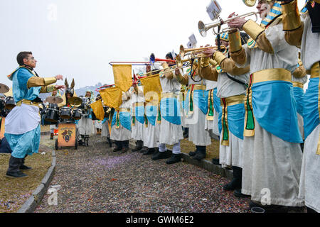 Tesserete, Switzerland - 13 February 2016: people playing music at the carnival of Tesserete on the italian part - Stock Photo