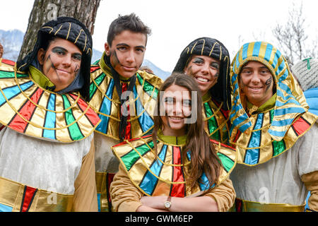 Tesserete, Switzerland - 13 February 2016: people posing at the carnival of Tesserete on the italian part of Switzerland - Stock Photo