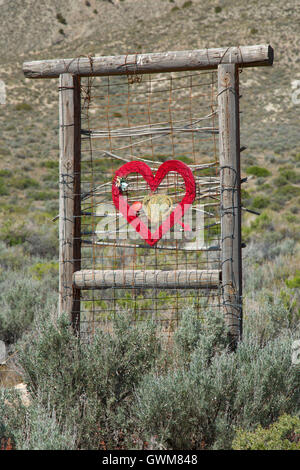 The Black Rock Hitching Post Wedding Chapel sculpture, Guru Road, Gerlach, Nevada - Stock Photo