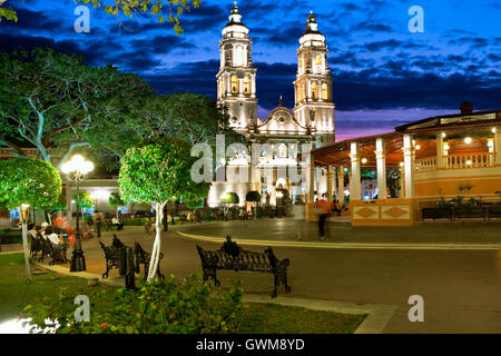 Zocalo and cathedral in Campeche, Mexico - Stock Photo