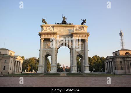 Arco della Pace, Milan, Italy, monuments and historical sites, tourist attraction, tourism - Stock Photo