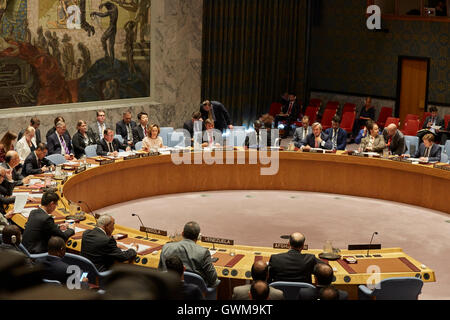 New York, United States. 14th Sep, 2016. UN Security Council opens meeting on the situation in Liberia at the UN - Stock Photo