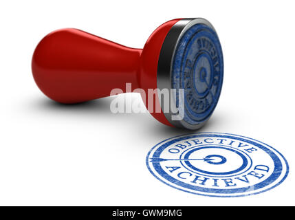 3D illustration of a rubber stamp where it is written objective achieved over white background. Concept of training - Stock Photo