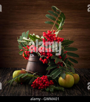 Painting. Still life with vase, flowers, fruit, rowan on wood background. It can be used to create packages, gift - Stock Photo