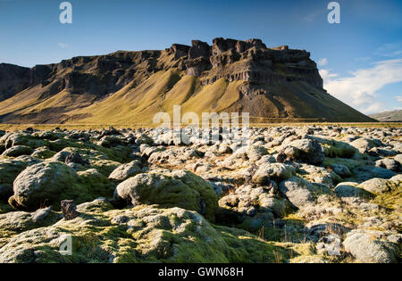 Dramatic Icelandic Scenery & Moss Covered Lava Field, near Kirkjubaejarklaustur, Southern Iceland - Stock Photo