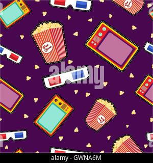Seamless pattern with movie icons in pop art style, vibrant color cinema elements, popcorn 3d glasses and tv. EPS10 - Stock Photo