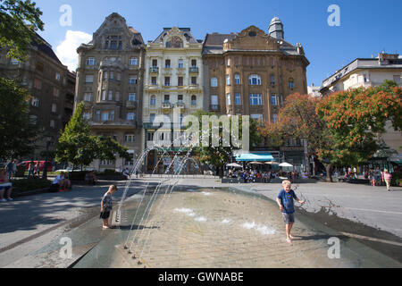 Fővám square,, 'Main Customs Square', where merchants sell their produce in the adjacent Grand Market Hall, Budapest, - Stock Photo
