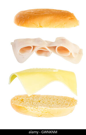 open sandwich, floating sandwich, ham and cheese sandwich - Stock Photo