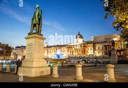 Statue Of Major General Sir Henry Havelock Trafalgar Square at Night London UK