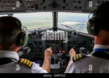 DDA Classic Flights Douglas DC-3 flightdeck over the Netherlands. - Stock Photo