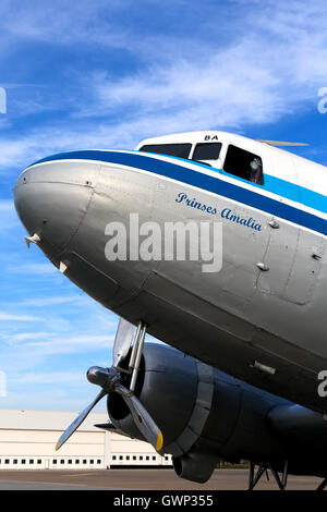 DDA Classic Flights Douglas DC-3 prepares for a pleasure flight at Amsterdam Schipol airport. - Stock Photo