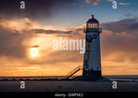 Talacre Lighthouse at Sunset, Talacre Beach, Flintshire, North Wales, UK - Stock Photo