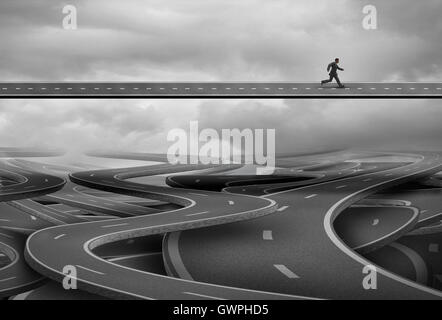 Pathway to freedom and concept for escape and a way forward towards success as a businessman finding the solution - Stock Photo