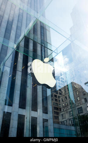 Entrance to the Apple Store on Fifth Avenue in New York City - Stock Photo