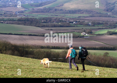Women walking with dog near Firle Beacon in winter, South Downs National Park, East Sussex, England, UK - Stock Photo