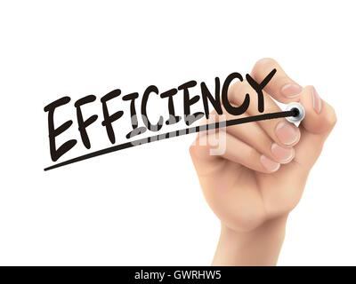 Efficiency written by hand, 3D illustration realistic hand writing on transparent board - Stock Photo
