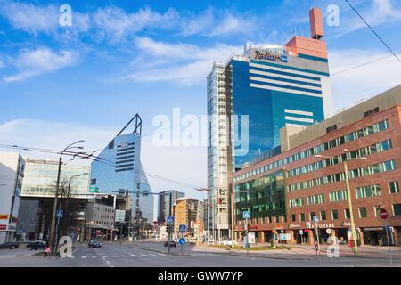 Tallinn, Estonia - May 1, 2016: Radisson Blu Hotel Olumpia in modern part of Tallinn city - Stock Photo