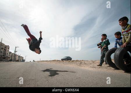 Uday Ajrami of 3 Run Gaza at Beit Hanoun, Gaza Strip,occupied Palestinian territory. - Stock Photo