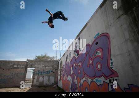 18 year old Fahed Dawood at his Parkour Teams main base off Saladin Road in Beit Hanoun, Northern Gaza Strip. - Stock Photo
