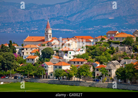 Postira on Brac island skyline view, Dalmatia, Croatia - Stock Photo